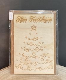 """Houten kerstkaart """"Fijne Feestdagen"""", incl enveloppe"""