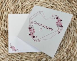 Wenskaart hart - tekst: Gefeliciteerd + enveloppe