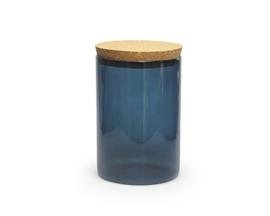 Presentatiepot met kurken stop, kleur silver blue, 700 ml - 15 x 10 cm diam.