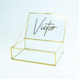 Giftbox rechthoekig model in glas, kleur goud (22 cm x 15 cm x 6,5 cm)