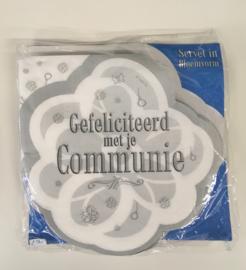 """Pakje servietten in bloemvorm """"Gefeliciteerd met je communie"""""""