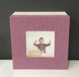 Bewaardoos inclusief 18 mini-doosjes afgewerkt met strandzand kleur lavendelpaard