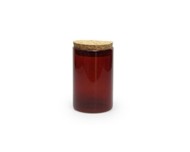 Glazen potje met kurken stop, kleur terra, 8,4 x 5 cm diam.