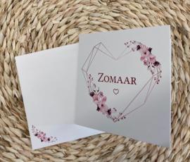 Wenskaart hart - tekst: Zomaar + enveloppe