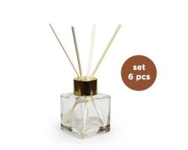 Doorschijnend vierkant glazen flesje 50 ml met gouden dop, incl natuurkleurige stokjes, per stuk, leeg