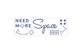 To the Moon Space sticker, kleur galaxy blue (18 x 6 cm)