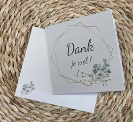 Wenskaart veelhoek - tekst: Dank je wel! + enveloppe