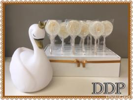 Ideetje artisanale luxe-lollie kleur wit met gouden korrels