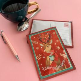 Rudolph theekaart (Een tea card verstuur je met een normale postzegel en bevat thee voor 2 potten heerlijke kerst thee!)