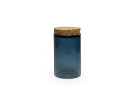 Glazen potje met kurken stop, kleur silver blue,  8,4 x 5 cm diam.