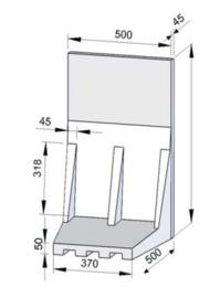 L-element 50 x 50 x 55 grijs