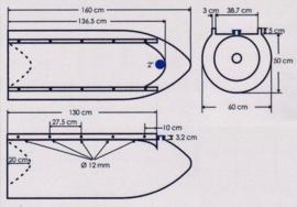 Kunststof drijver voor ponton (zwart)