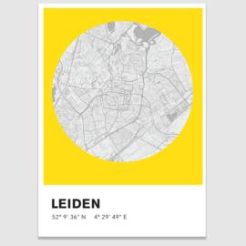 Leiden stadskaart - potloodschets - 20 kleuren