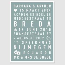 Bruiloft tekstposter met eigen tekst - 20 kleuren