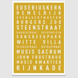 Tekstposter highlights Arnhem - 20 kleuren