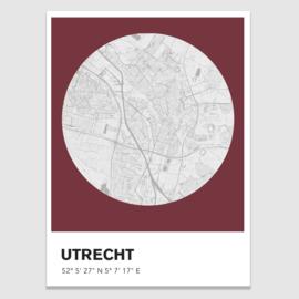 Utrecht stadskaart  - potloodschets - 20 kleuren
