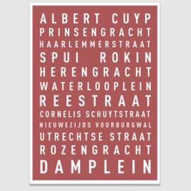 Tekstposter highlights Amsterdam - 20 kleuren