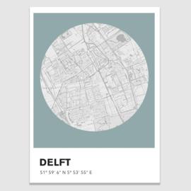 Delft stadskaart  - potloodschets - 20 kleuren