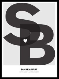 Poster met initialen bruidspaar - 20 kleuren
