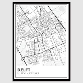 Delft stadskaart - lijnen