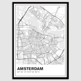 Amsterdam stadskaart - lijnen