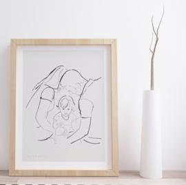 Handgetekende schets van een foto