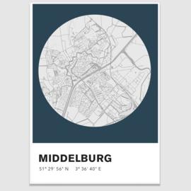 Middelburg stadskaart - potloodschets - 20 kleuren