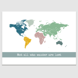 wereldkaart poster - veelkleurig