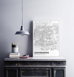 Leeuwarden stadskaart  - lijnen
