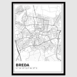 Breda stadskaart - lijnen