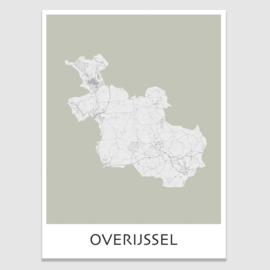 Poster plattegrond Overijssel - 20 kleuren