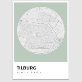 Tilburg stadskaart - potloodschets - 20 kleuren