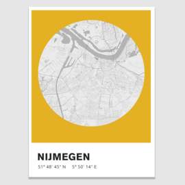 Nijmegen stadskaart -  potloodschets - 20 kleuren