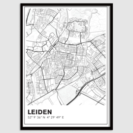 Leiden stadskaart - lijnen