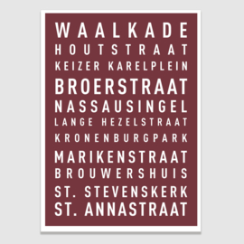 Tekstposter highlights Nijmegen - 20 kleuren