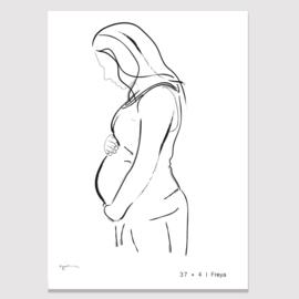 Jouw zwangere buik schets - wit