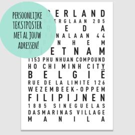 Tekstposter met jouw persoonlijke adressen