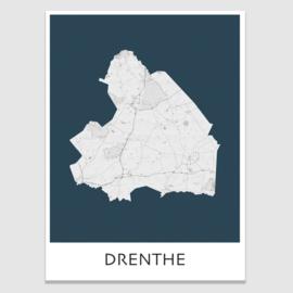 Poster plattegrond  Drenthe - 20 kleuren