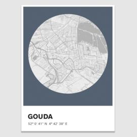 Gouda stadskaart - potloodschets