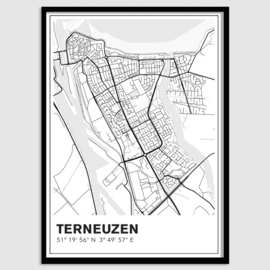 Terneuzen stadskaart - lijnen
