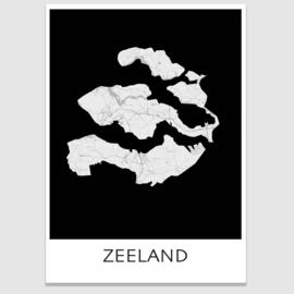 Poster plattegrond Zeeland - 20 kleuren