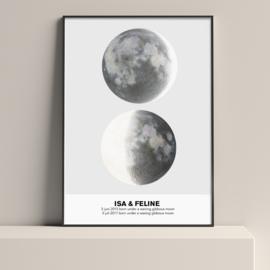 Moederdag: maanstand poster - Geboorte - 1 of 2 kinderen