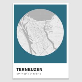 Terneuzen stadskaart - potloodschets - 20 kleuren