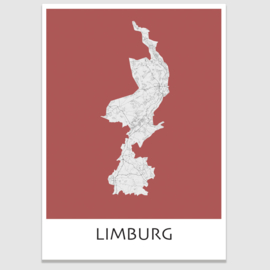 Poster plattegrond Limburg - 20 kleuren
