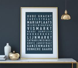 Tekstposter highlights Utrecht - 20 kleuren