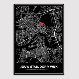 Stadskaart van jouw stad - lijnen - zwart