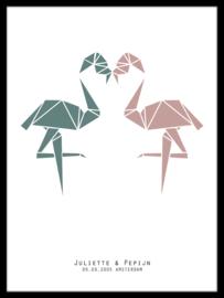 Trouwposter flamingo - liefde