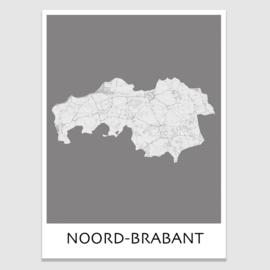 Poster plattegrond Noord-Brabant - 20 kleuren