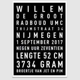 Baby tekstposter met eigen tekst - in 20 kleuren