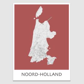 Poster plattegrond Noord-Holland - 20 kleuren